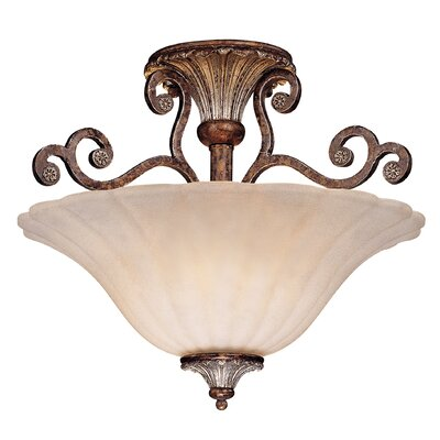 Fairgrove Semi Flush Mount in New Tortoise Shell Size: 12 H x 16 W