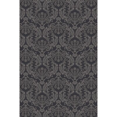 Barratt Hand-Knotted Black Area Rug Rug size: 6 x 9