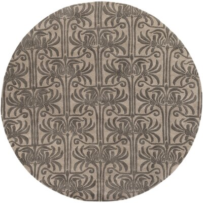 Bartell Hand-Tufted Black/Ivory Area Rug Rug size: Round 8