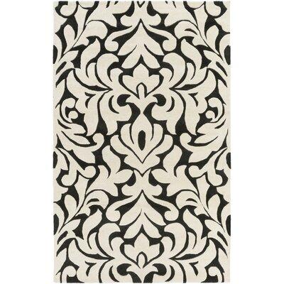 Barryton Hand-Tufted Cream/Black Area Rug Rug size: 33 x 53