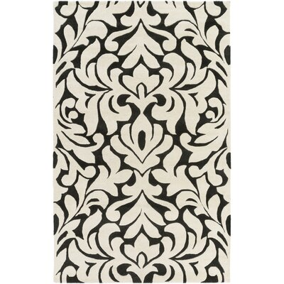 Barryton Hand-Tufted Cream/Black Area Rug Rug size: 8 x 11