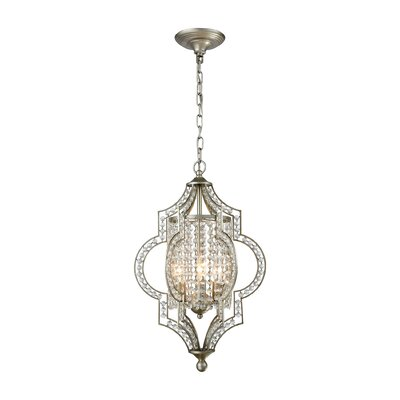 Jayleen 3-Light Crystal Pendant Bulb Type: 60W Incandescent
