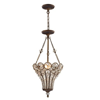 Elberta 3-Light Crystal Chandelier Bulb Type: 60W Incandescent