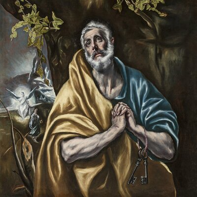 'The Penitent Saint Peter' by El Greco Painting Print on Wrapped Canvas
