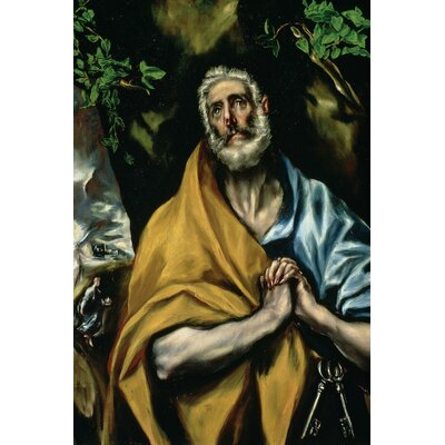 'The Tears of St. Peter' by El Greco Painting Print on Wrapped Canvas