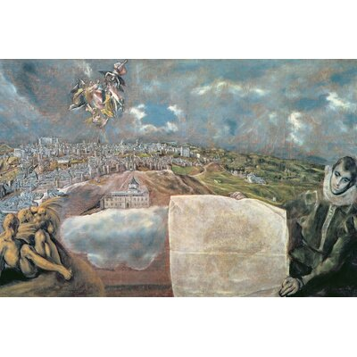 'View and Map of the Town of Toledo, Spain' by El Greco Painting Print on Wrapped Canvas