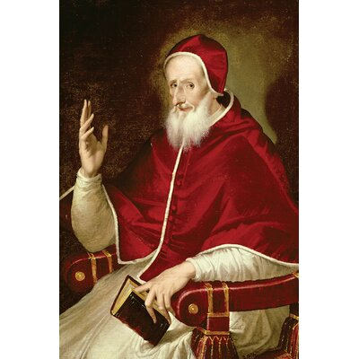 'Portrait of Pope Pius V, c.1571' by El Greco Painting Print on Wrapped Canvas