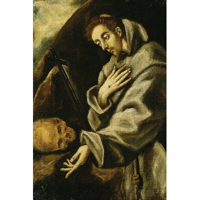 'Saint Francis in Meditation' by El Greco Painting Print on Wrapped Canvas