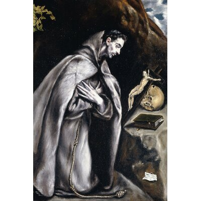 'Saint Francis Kneeling in Meditation' by El Greco Painting Print on Wrapped Canvas