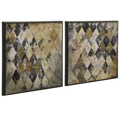 'Cross Hatch' 2 Piece Framed Painting Print Set