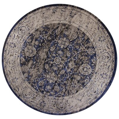 Bailor Ink Blue/Ivory Area Rug Rug Size: Round 710