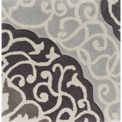 Spenser Hand-Tufted Dark Brown/Light Gray Area Rug Rug size: Round 8