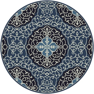 Spenser Hand-Tufted Navy/Light Gray Area Rug Rug size: Round 8'