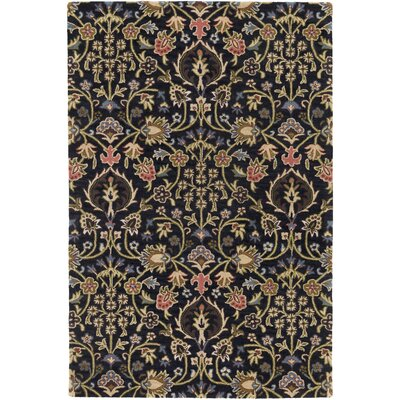 Alden Hand-Tufted Black Area Rug Rug size: 4 x 6