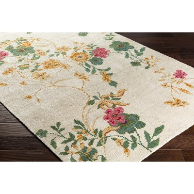Pippin Hand-Knotted Neutral/Pink Area Rug Rug Size: Rectangle 2 x 3