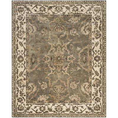 Colliers Hand-Tufted Gray/Cream Area Rug Rug Size: Round 7 x 7