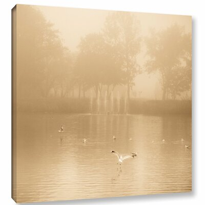 Golden Lake in Fog Photographic Print on Wrapped Canvas