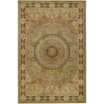 Randalholme Cream/Green/Red Area Rug Rug Size: Rectangle 23 x 36