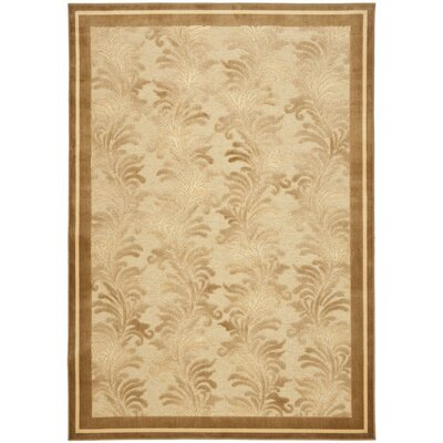 Plume Tufted-Hand-Loomed Beige/Brown Area Rug Rug Size: 27 x 4