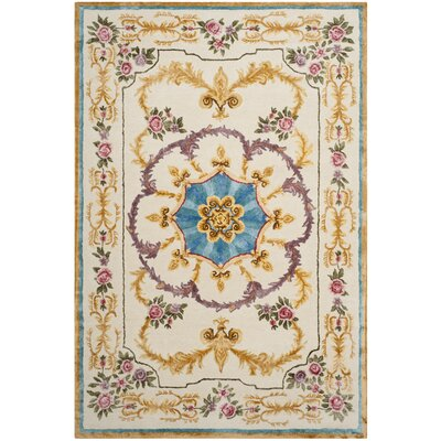 Chaplain Hand-Tufted Ivory/Gold/Purple Area Rug Rug Size: Rectangle 6 x 9