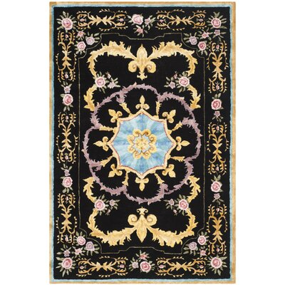 Chaplain Hand-Tufted Black/Yellow/Blue Area Rug Rug Size: 4 x 6