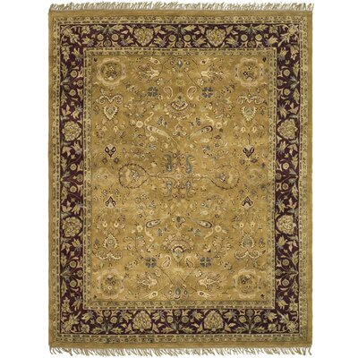 Balthrop Hand-Tufted Camel / Plum Area Rug
