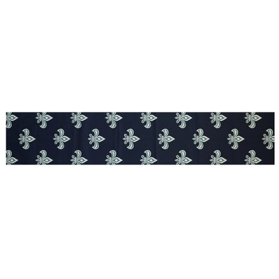 Bayliff Fleur de Lis Ikat Print Navy Blue Indoor/Outdoor Area Rug