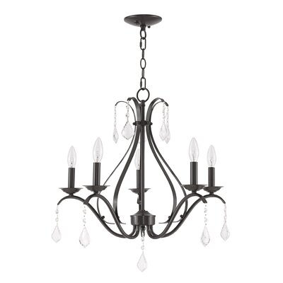Aria 5-Light Candle-Style Chandelier Finish: English Bronze