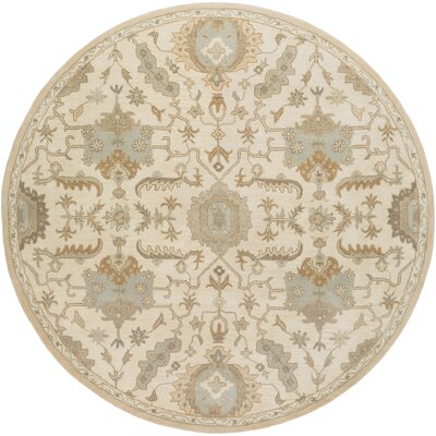 Kempinski Hand Tufted Beige/Tan Area Rug Rug Size: Round 8
