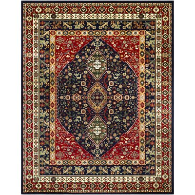 Batchelder Red/Blue Area Rug Rug Size: Rectangle 8 x 10