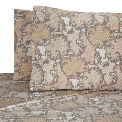 Washington Scroll Printed 4 Piece 300 Thread Count 100% Cotton Sheet Set