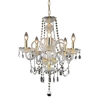 Ogden 5-Light Crystal Chandelier Finish: Gold