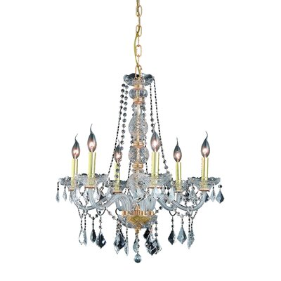 Abram 6-Light Crystal Chandelier Finish / Crystal Color / Crystal Trim: Chrome / Golden Teak (Smoky) / Strass Swarovski