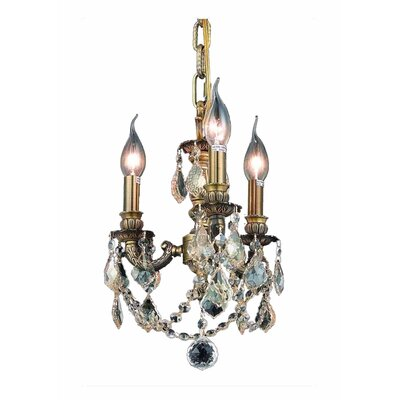 Downes 3-Light Crystal Chandelier Finish / Crystal Color / Crystal Trim: Antique Bronze / Champagne / Strass Swarovski