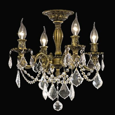Utica 4-Light Crystal Chandelier Finish / Crystal Color / Crystal Trim: Antique Bronze / Clear / Strass Swarovski
