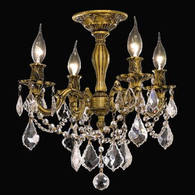 Utica 4-Light Crystal Chandelier Finish / Crystal Color / Crystal Trim: French Gold / Crystal (Clear) / Elegant Cut