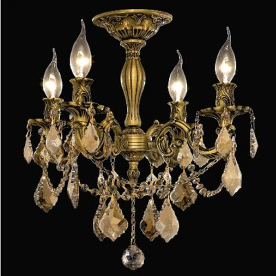 Utica 4-Light Crystal Chandelier Finish / Crystal Color / Crystal Trim: French Gold / Smoky / Strass Swarovski
