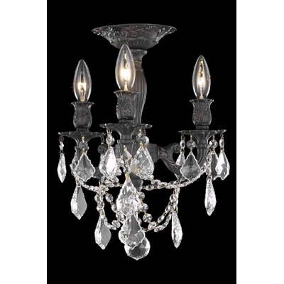 Reading 3-Light Candle-Style Chandelier Crystal Color / Crystal Grade: Crystal (Clear) / Elegant Cut