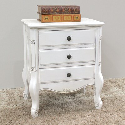 Lacey 3 Drawer Nightstand Color: Antique White