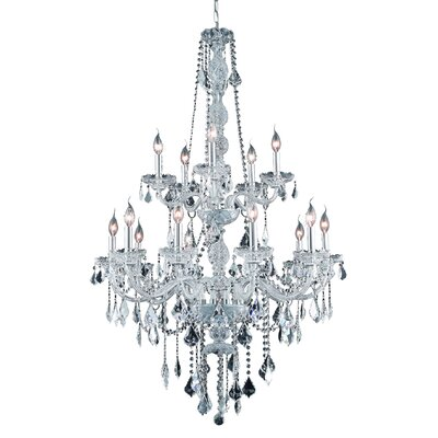 Abram 15-Light Crystal Chandelier Finish: Gold, Crystal Color: Crystal (Clear), Crystal Grade: Elegant Cut