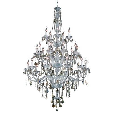 Abram 25-Light Crystal Chandelier Finish / Crystal Color / Crystal Trim: Chrome / Golden Teak (Smoky) / Royal Cut