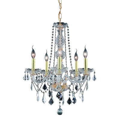 Abram 5-Light Crystal Chandelier Finish: Gold / Crystal (Clear) / Elegant Cut