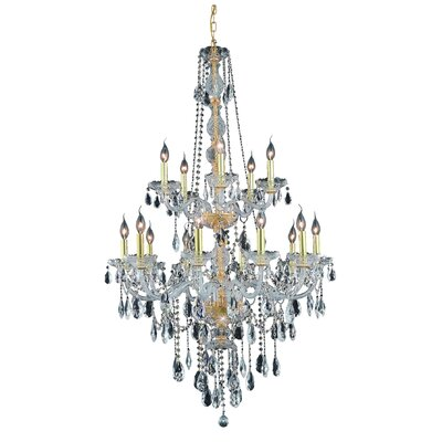 Abram 15-Light Crystal Chandelier Finish / Crystal Color / Crystal Trim: Silver Shade / Silver Shade (Grey) / Royal Cut