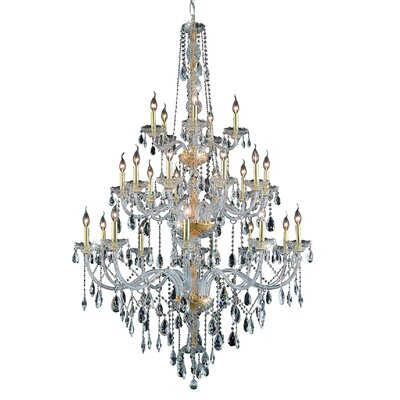 Abram 25-Light Crystal Chandelier Finish / Crystal Color / Crystal Trim: Silver Shade / Silver Shade (Grey) / Royal Cut