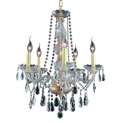 Abram 5-Light Crystal Chandelier Finish / Crystal Color / Crystal Trim: Chrome / Golden Teak (Smoky) / Strass Swarovski