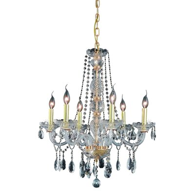 Abram 6-Light Crystal Chandelier Finish / Crystal Color / Crystal Trim: Silver Shade / Silver Shade (Grey) / Royal Cut