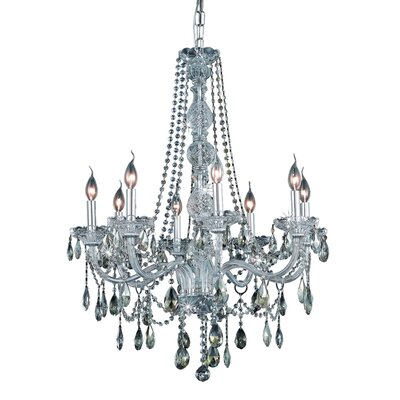 Abram 8-Light Crystal Chandelier Finish / Crystal Color / Crystal Trim: Chrome / Golden Teak (Smoky) / Strass Swarovski
