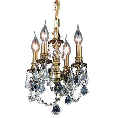 Downes 4-Light Crystal Chandelier Color / Crystal Color / Crystal Trim: Antique Bronze / Clear / Strass Swarovski