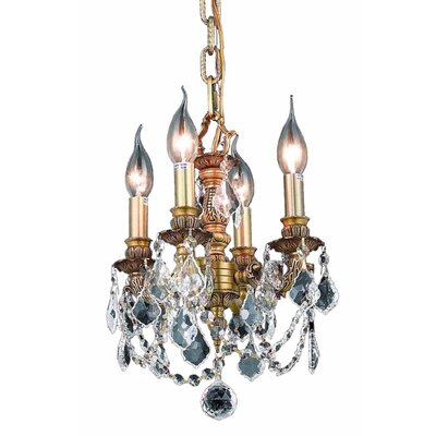 Downes 4-Light Crystal Chandelier Finish / Crystal Color / Crystal Trim: French Gold / Crystal (Clear) / Strass Swarovski