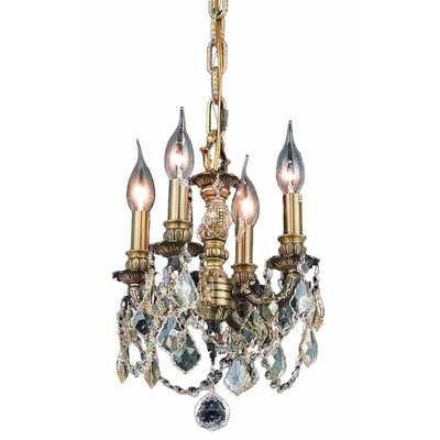 Downes 4-Light Crystal Chandelier Color / Crystal Color / Crystal Trim: Antique Bronze / Crystal (Clear) / Royal Cut